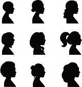 Women profiles silhouettes vector set. Black.