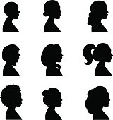 Women profiles silhouettes vector set.