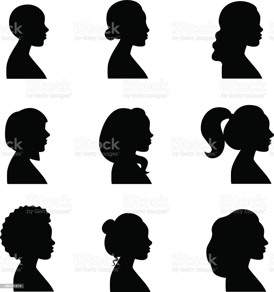 Women profiles silhouettes vector set. vector art illustration