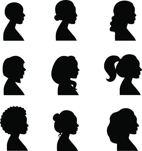 Women profiles silhouettes vector set. Women profiles silhouettes vector set. Black. african american ethnicity stock illustrations