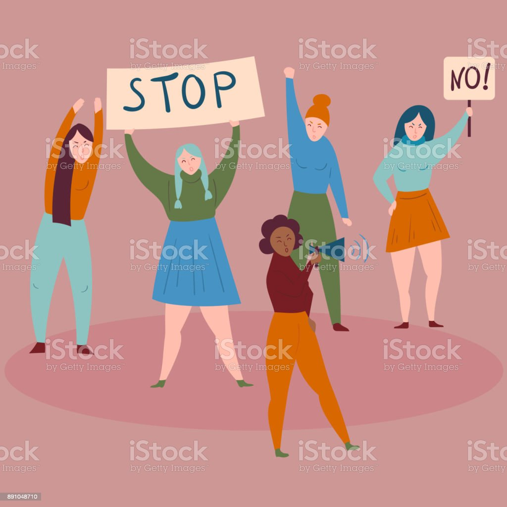 Women protest with stop and no signs.Demostrants vector art illustration