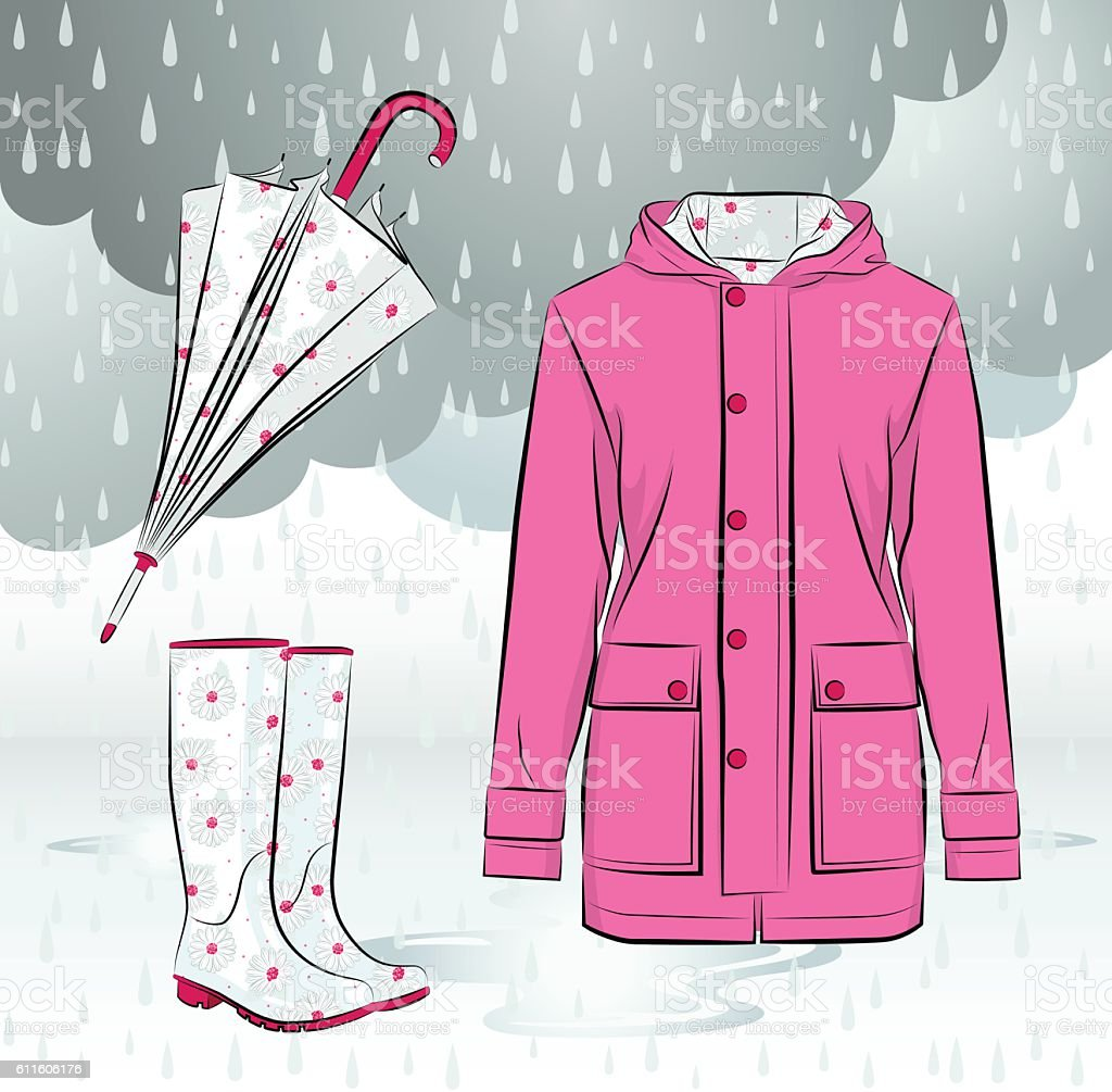Women rain boots, jacket and umbrella with floral pattern vector art illustration
