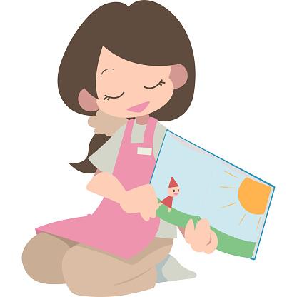 Women Reading Aloud — стоковая векторная графика и другие изображения на тему Векторная графика
