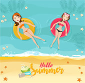 Vector summer concept at the beach. Women in bikini relaxing and swimming on inflatables.