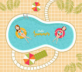Vector summer concept at pool. Women in bikini relaxing and swimming on the pool with inflatables.