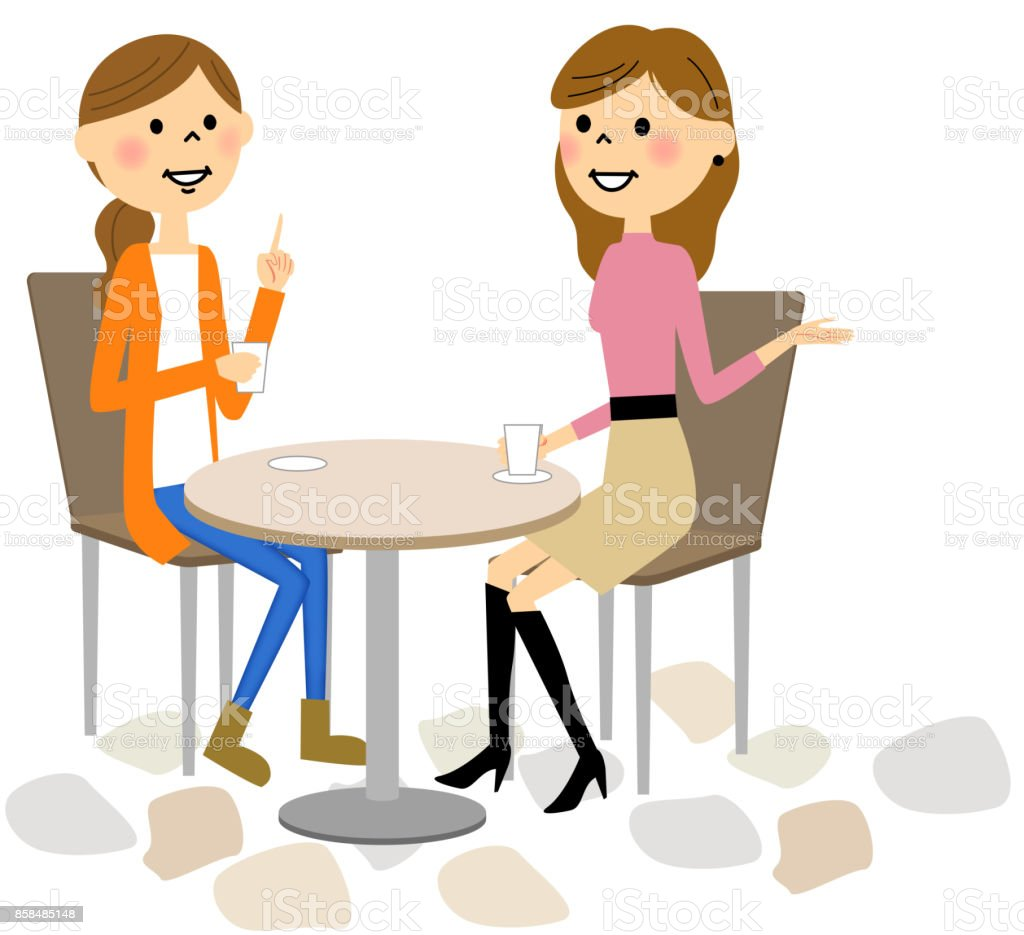 Women relaxing at the cafe vector art illustration