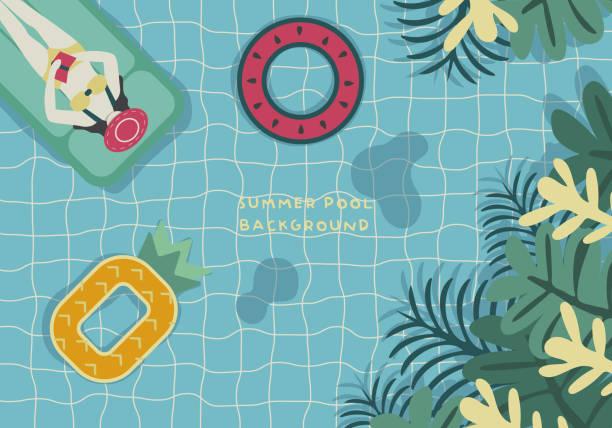 ilustrações, clipart, desenhos animados e ícones de mulheres de relaxamento na piscina, cor de fundo - viagem de primeira classe