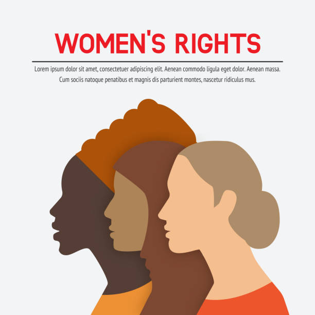 illustrazioni stock, clip art, cartoni animati e icone di tendenza di women rights concept. three of the female profile - donna