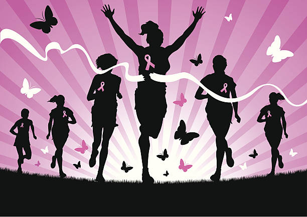 Women Running for Cancer Awareness vector art illustration