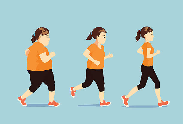 Women running to slim Fat women jogging to slim shape in 3 step, this pic is beauty concept weight loss stock illustrations