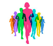 Colourful silhouettes of Female runners