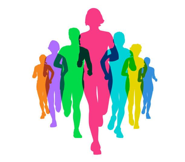 stockillustraties, clipart, cartoons en iconen met vrouwen lopen - running