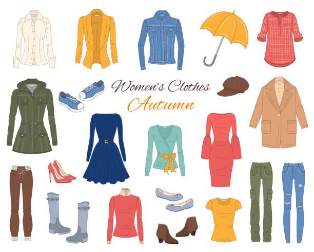 stockillustraties, clipart, cartoons en iconen met vrouwen kleding collectie. vectorillustratie. - men blazer