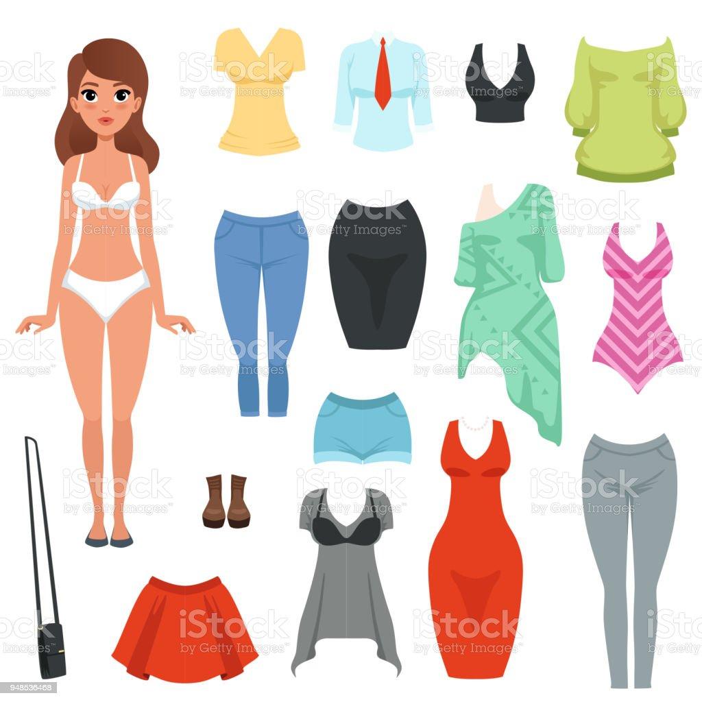 Ilustración De Conjunto De Prendas De Vestir De Las Mujeres