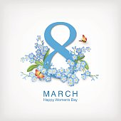Happy women s day greeting card. Postcard on March 8. Text with flowers and butterflies
