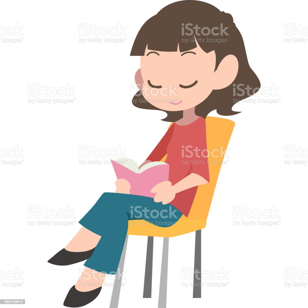 Women sat, reading - Royalty-free Adult stock vector