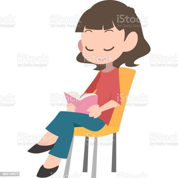 Kvinnor Satt Läsning-vektorgrafik och fler bilder på Bok - Tryckt media