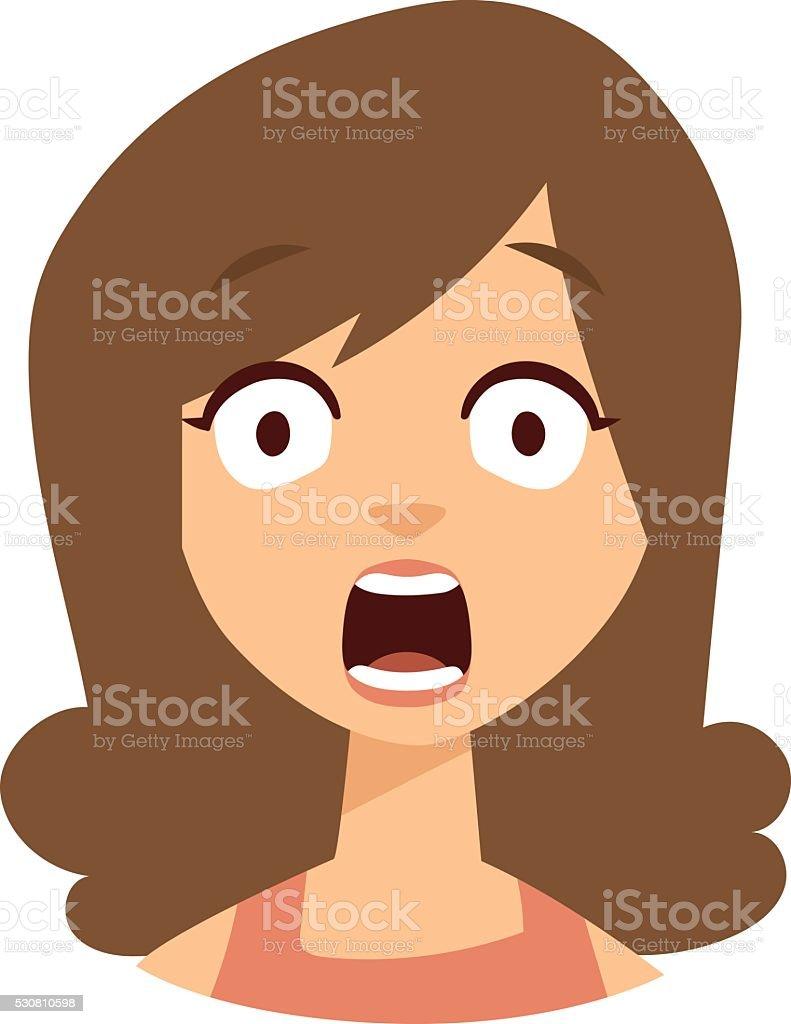 Women scary face vector illustration vector art illustration
