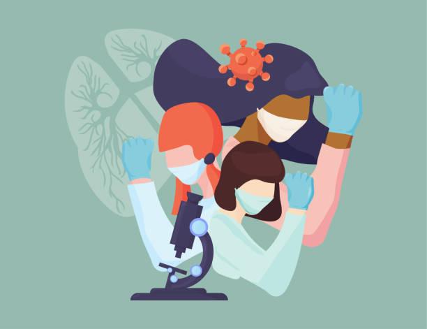 illustrations, cliparts, dessins animés et icônes de femmes scientifiques infirmières et médecins luttant contre le coronavirus. illustration steministe féministe. femmes médecins, infirmières et scientifiques ensemble. - aide soignant