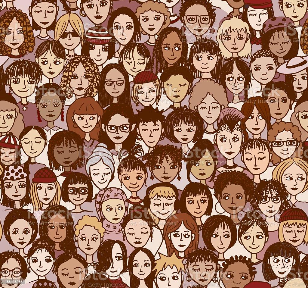 Women, seamless pattern in colour vector art illustration