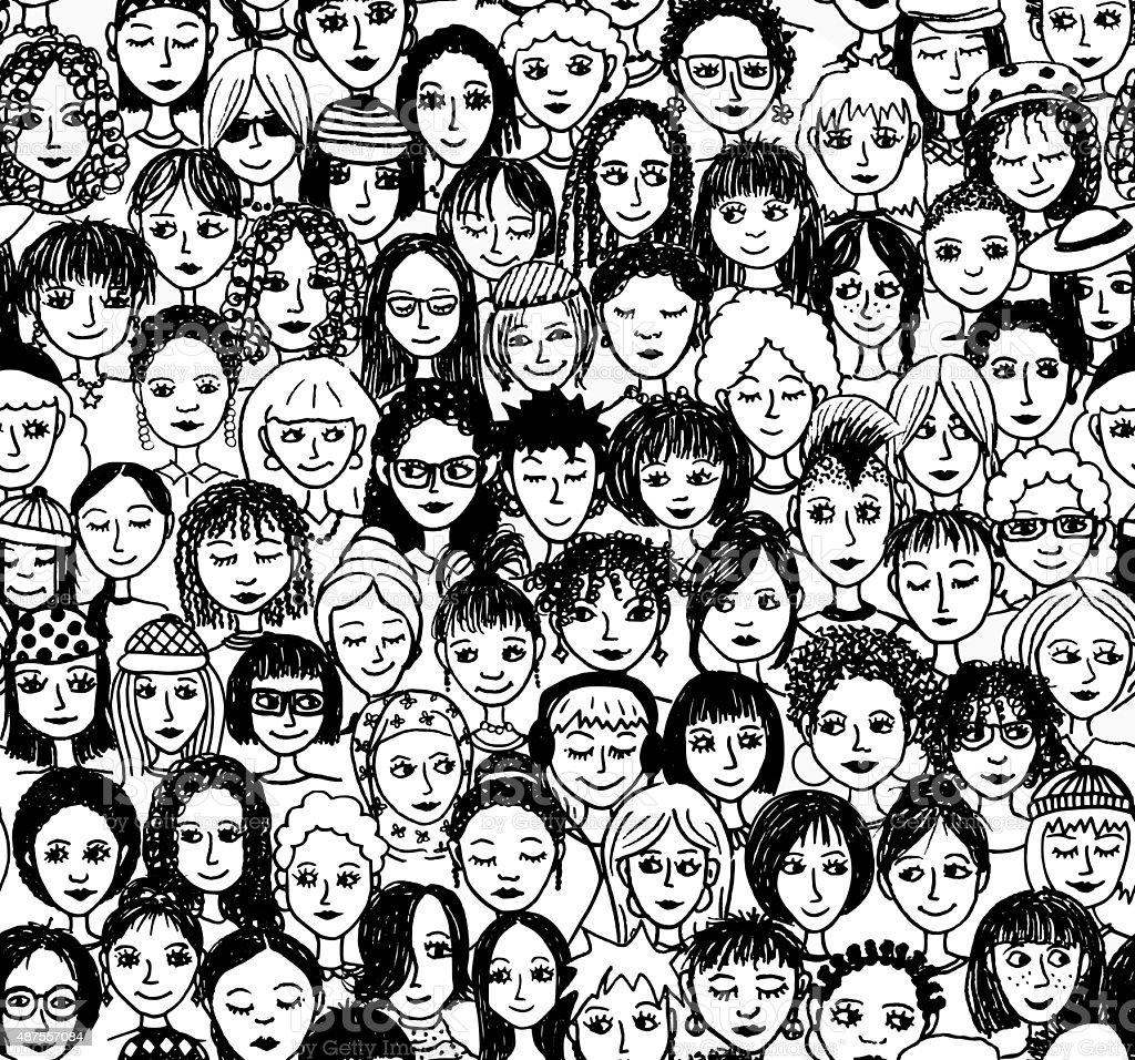 Women, seamless pattern vector art illustration