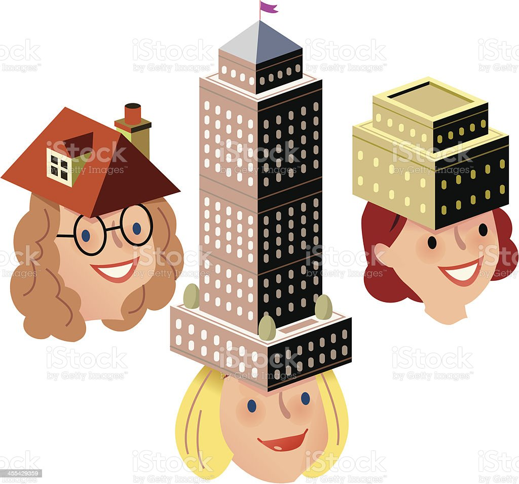 Women seek accommodation royalty-free stock vector art