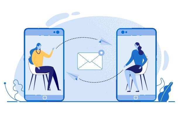 Women Sending Messages via Mobile Phones Vector.