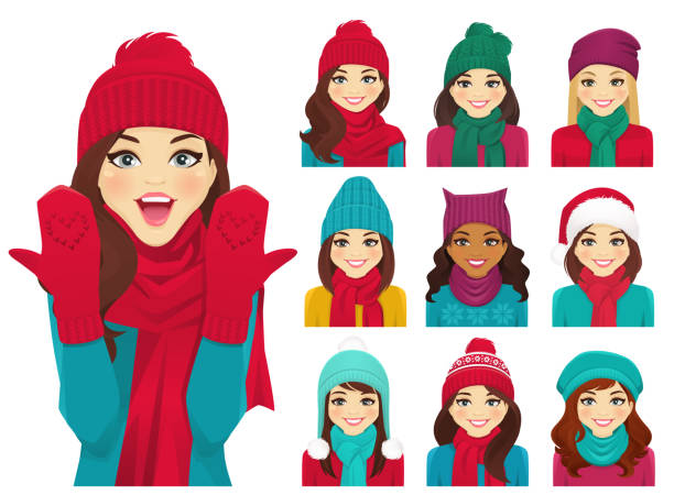 Women set in hats Women in autumn and winter knitted hats with warm scarfs vector illustration isolated knit hat stock illustrations
