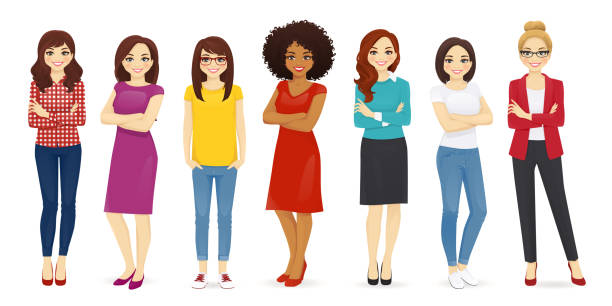 Women set Collection of cute women dressed in different clothing. Female characters set vector illustration cartoon people stock illustrations