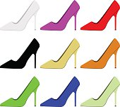 Women shoe icon, colored set