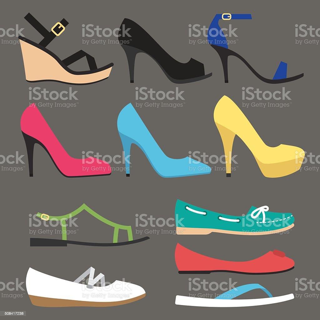 Women shoe types vector art illustration