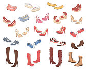 Women shoes collection. Various types of female shoes boots, stilettos, wedges, sandals, sneakers, flats, vector sketch illustration, isolated on white background.