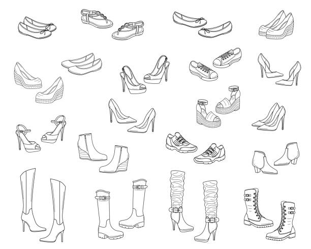 women shoes collection, vector sketch illustration - wysokie obcasy stock illustrations