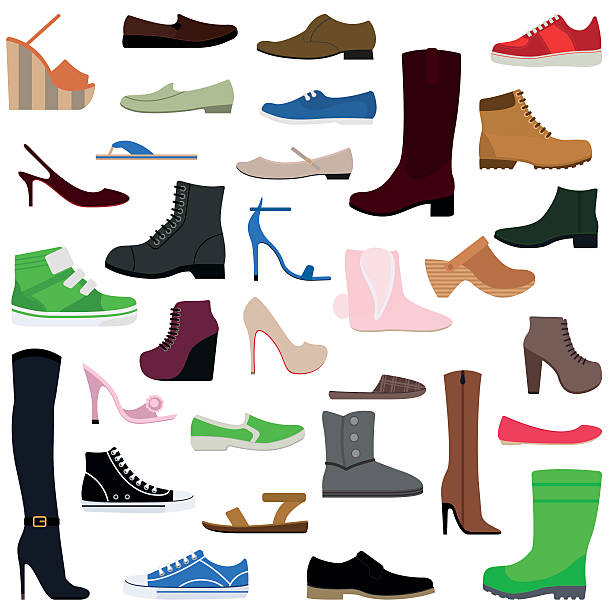 women shoes isolated collection of various types female footwear vector - boot stock illustrations