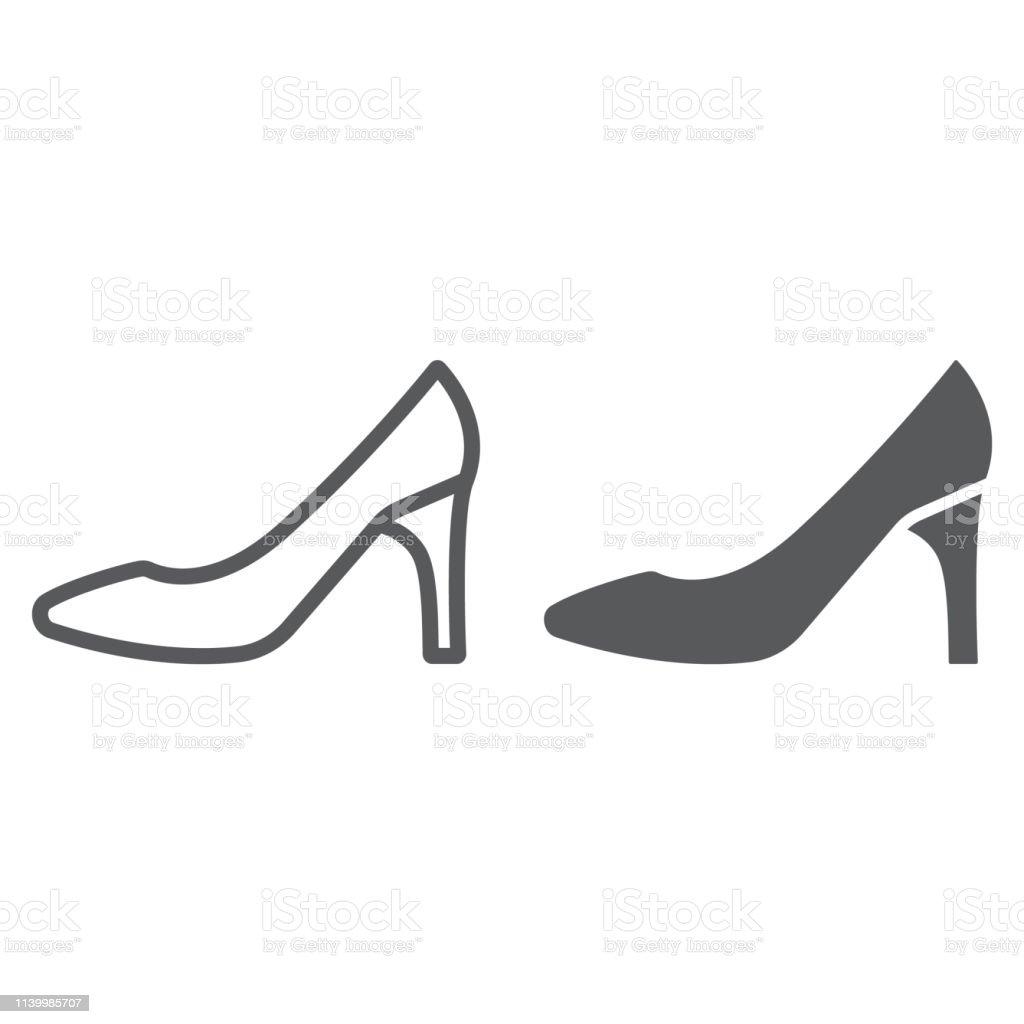 Damenschuhe Linie Und Glyphe Ikone Damen Und Schuhe High