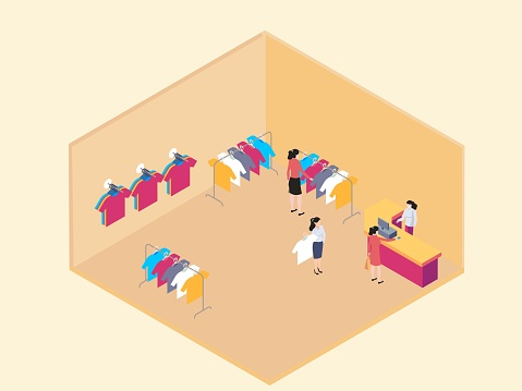 women shopping for clothes isometric