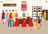 Women shopping in a clothing store with Dummies show, Shopping fashion, clearance sale, accessories on sale. Flat style vector illustration.