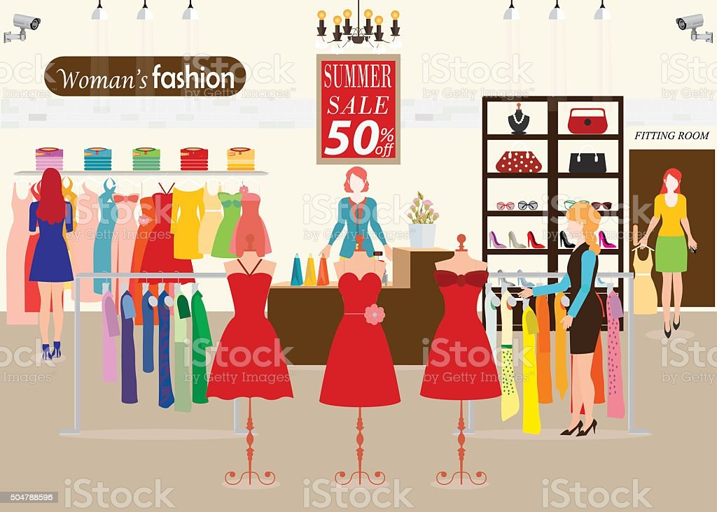 Women shopping in a clothing store with Dummies show. vector art illustration