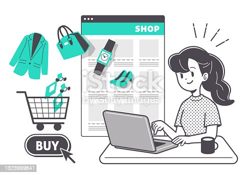 istock Women shopping online 1323999841