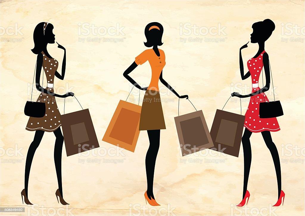 女性のショッピング街、レトロなスタイル。 ベクターアートイラスト