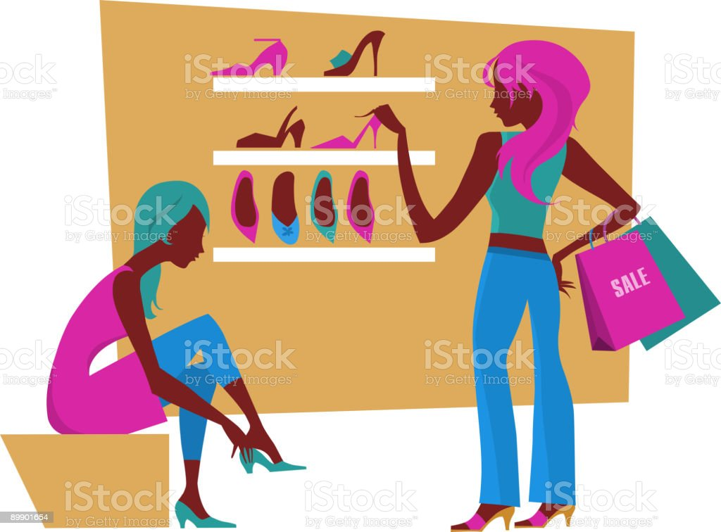 women shopping royalty-free women shopping stock vector art & more images of 18-19 years