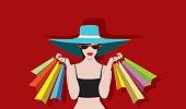 women Shopping  wearing hats and cateye sunglasses  cute illustrations