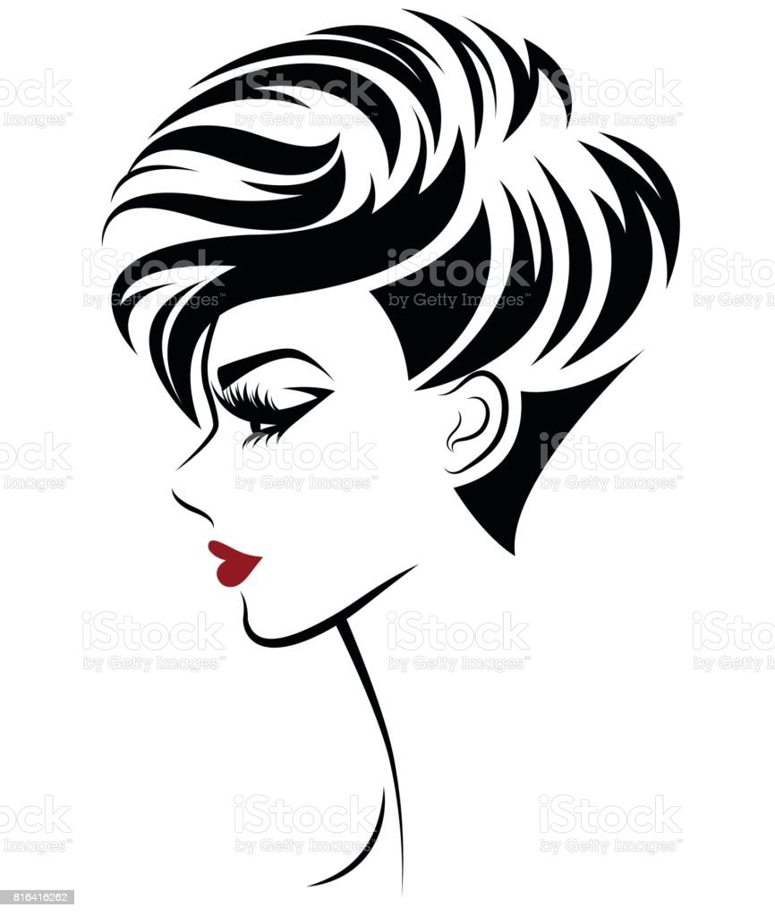 women short hair style icon, icon women on white background vector art illustration