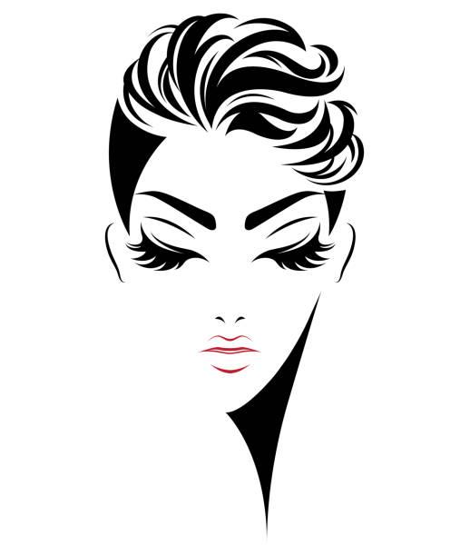 Royalty Free Women Short Hair Style Icon Logo Women Face