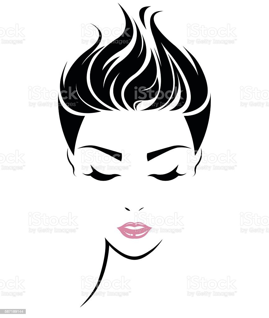 Women short hair style icon logo women face stock vector art more images of abstract 587189144 - Clipart visage ...