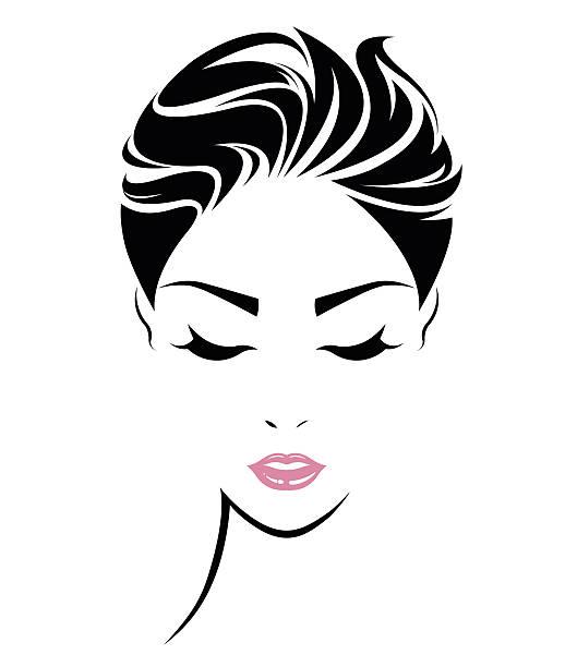 ilustraciones, imágenes clip art, dibujos animados e iconos de stock de women short hair style icon, logo women face - cabello negro