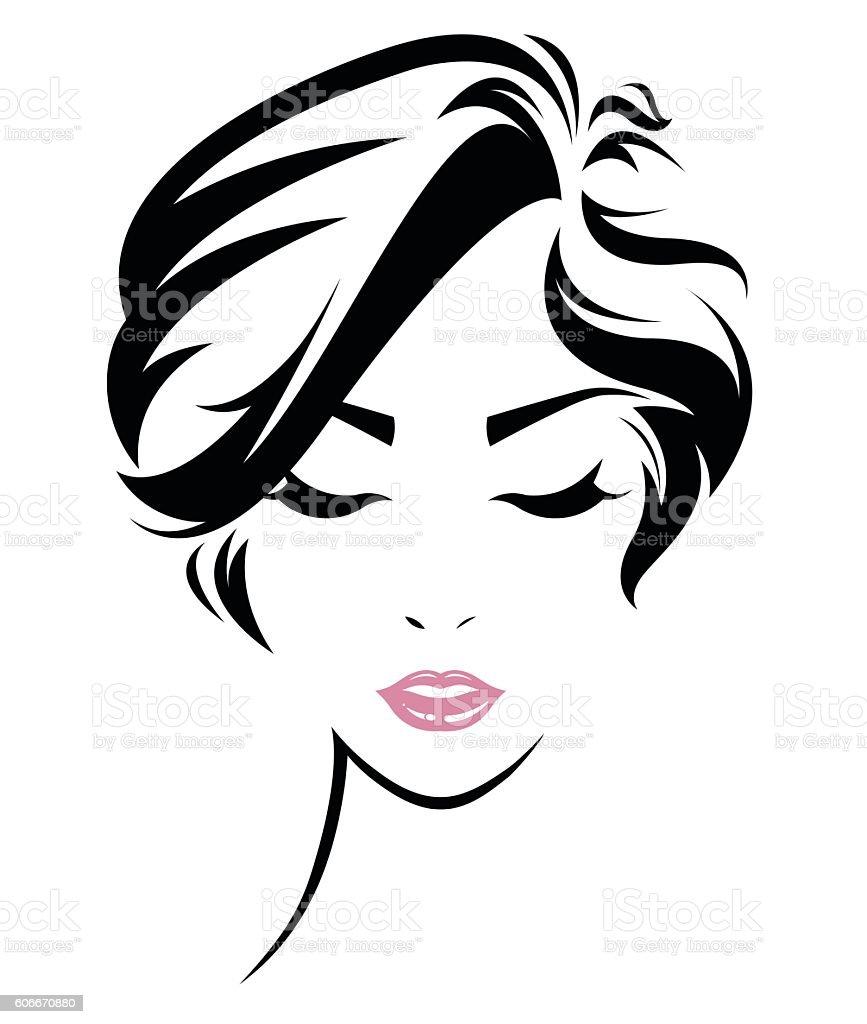 Women Long Hair Style Icon Logo Women Face Stock Vector Art More