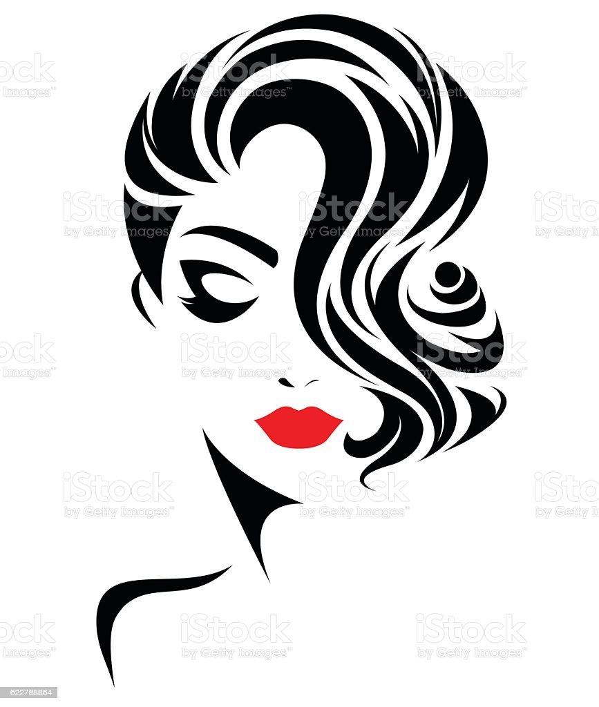 Women Short Hair Style Icon Logo Women Face Stock