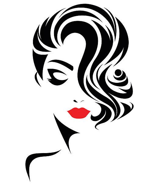 women short hair style icon, logo women face vector art illustration