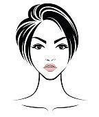 illustration of women short hair style icon, logo women face on white background on white background